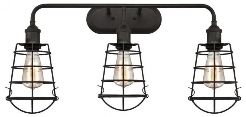 3 Light Wall Oil Rubbed Bronze Finish With Cage Shades